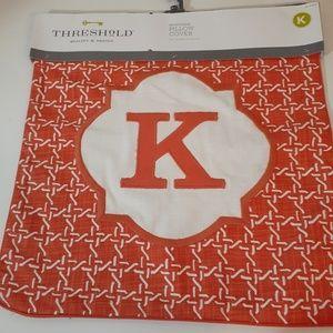 """Threshold Monogram """"K"""" Pillow Cover"""